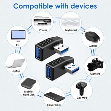 KIMILAR 2-tlg USB 3,0 Adapter rechtwinklig und linken Winkel-Stecker/Buchse USB Winkelstecker Connector-Extender Stecker Kupplung 2ST (einschließlich der linken und rechten Winkel-Adapter) - 6