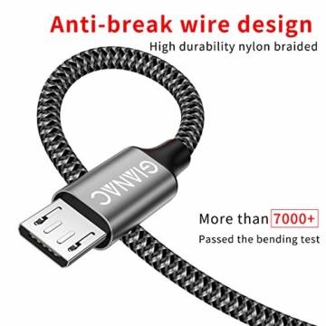 Micro USB Kabel,4 Pack[0.5M 1M 2M 3M] Nylon Micro USB Ladekabel Schnellladekabel High Speed Handy Datenkabel für Samsung Galaxy S7/ S6/ J7/ Note 5,Xiaomi,Huawei, Wiko,Motorola,Nokia,Kindle-Grau - 3