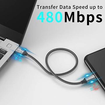 Micro USB Kabel,4 Pack[0.5M 1M 2M 3M] Nylon Micro USB Ladekabel Schnellladekabel High Speed Handy Datenkabel für Samsung Galaxy S7/ S6/ J7/ Note 5,Xiaomi,Huawei, Wiko,Motorola,Nokia,Kindle-Grau - 5