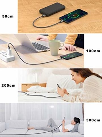 Micro USB Kabel,4 Pack[0.5M 1M 2M 3M] Nylon Micro USB Ladekabel Schnellladekabel High Speed Handy Datenkabel für Samsung Galaxy S7/ S6/ J7/ Note 5,Xiaomi,Huawei, Wiko,Motorola,Nokia,Kindle-Grau - 6