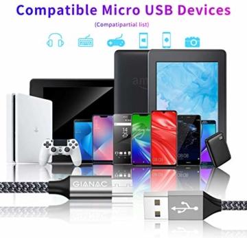 Micro USB Kabel,4 Pack[0.5M 1M 2M 3M] Nylon Micro USB Ladekabel Schnellladekabel High Speed Handy Datenkabel für Samsung Galaxy S7/ S6/ J7/ Note 5,Xiaomi,Huawei, Wiko,Motorola,Nokia,Kindle-Grau - 7