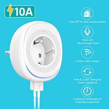 MoKo Alexa Wlan Steckdose mit 2 USB Ports und Smart Lampe, Intelligente Stecker Wifi Plug Kompatibel mit Alexa Echo Google Home Smart Life SmartThings, APP Fernsteurung Sprachsteuerung Timer - 2 Packs - 3