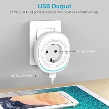 MoKo Alexa Wlan Steckdose mit 2 USB Ports und Smart Lampe, Intelligente Stecker Wifi Plug Kompatibel mit Alexa Echo Google Home Smart Life SmartThings, APP Fernsteurung Sprachsteuerung Timer - 2 Packs - 4
