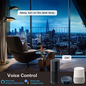 MoKo Alexa Wlan Steckdose mit 2 USB Ports und Smart Lampe, Intelligente Stecker Wifi Plug Kompatibel mit Alexa Echo Google Home Smart Life SmartThings, APP Fernsteurung Sprachsteuerung Timer - 2 Packs - 8