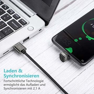 ROCK SPACE USB Typ C Winkelstecker Kabel 2M, 180 Grad Winkel Datenkabel Stark Nylon USB C Ladekabel für USB Typ-C Geräte Inklusive Huawei P20, Samsung Galaxy S9, S8+, MacBook, Xiaomi (Schwarz-2M) - 3