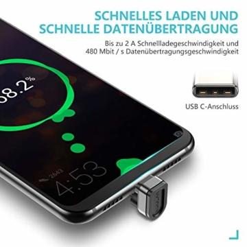 ROCK SPACE USB Typ C Winkelstecker Kabel 2M, 180 Grad Winkel Datenkabel Stark Nylon USB C Ladekabel für USB Typ-C Geräte Inklusive Huawei P20, Samsung Galaxy S9, S8+, MacBook, Xiaomi (Schwarz-2M) - 5
