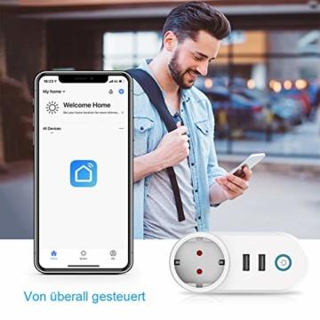 Slicoo Smart Plug-Fernbedienung für Alexa Stecker mit Alexa & Google&IFTTT,16A Smart WLAN Steckdose mit Zeitplan-Timer-Funktion, 2 USB- & 1 AC-Steckdose Unterstützt nur 2,4 GHz Netzwerk - 3
