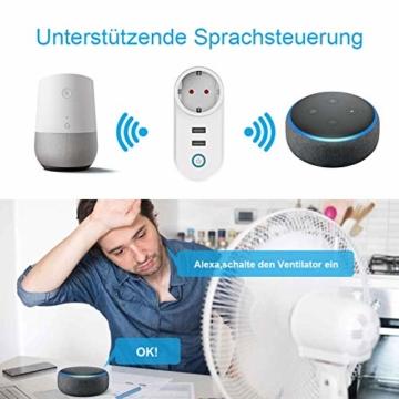Slicoo Smart Plug-Fernbedienung für Alexa Stecker mit Alexa & Google&IFTTT,16A Smart WLAN Steckdose mit Zeitplan-Timer-Funktion, 2 USB- & 1 AC-Steckdose Unterstützt nur 2,4 GHz Netzwerk - 5