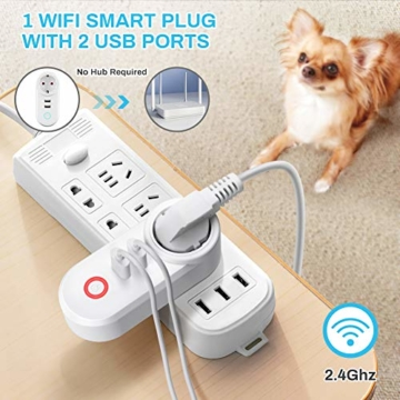 Smart Steckdose 16A, Welltop Wlan Steckdose mit 2 USB-Anschlüssen, Smart Plug Funktioniert mit Amzan Alexa & Google Home, mit Fernsteuerung und Sprachsteuerung, Nur auf 2.4 GHz - 2