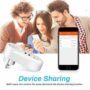 Smart Steckdose 16A, Welltop Wlan Steckdose mit 2 USB-Anschlüssen, Smart Plug Funktioniert mit Amzan Alexa & Google Home, mit Fernsteuerung und Sprachsteuerung, Nur auf 2.4 GHz - 3