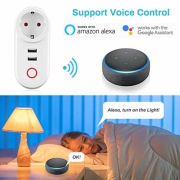 Smart Steckdose 16A, Welltop Wlan Steckdose mit 2 USB-Anschlüssen, Smart Plug Funktioniert mit Amzan Alexa & Google Home, mit Fernsteuerung und Sprachsteuerung, Nur auf 2.4 GHz - 4