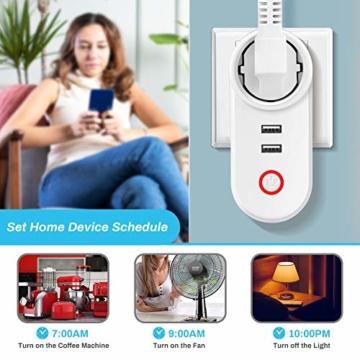Smart Steckdose 16A, Welltop Wlan Steckdose mit 2 USB-Anschlüssen, Smart Plug Funktioniert mit Amzan Alexa & Google Home, mit Fernsteuerung und Sprachsteuerung, Nur auf 2.4 GHz - 5