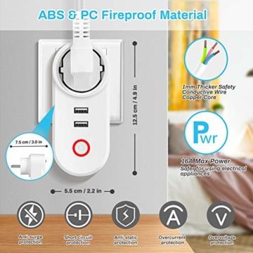 Smart Steckdose 16A, Welltop Wlan Steckdose mit 2 USB-Anschlüssen, Smart Plug Funktioniert mit Amzan Alexa & Google Home, mit Fernsteuerung und Sprachsteuerung, Nur auf 2.4 GHz - 6