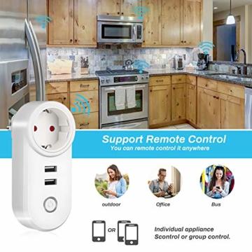 Smart Steckdose 16A, Welltop Wlan Steckdose mit 2 USB-Anschlüssen, Smart Plug Funktioniert mit Amzan Alexa & Google Home, mit Fernsteuerung und Sprachsteuerung, Nur auf 2.4 GHz - 7
