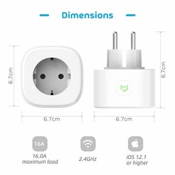 Smart Steckdose funktioniert mit Apple HomeKit, meross WLAN Plug, Inteilligent Stecker, kompatibel mit Siri, Alexa, Google Assistant und Samsung SmartThings, kein Hub erforderlich, 16 A, 2,4 GHz, 4pcs - 9