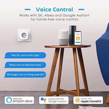 Smart Steckdose funktioniert mit Apple Siri, meross WLAN Plug, Intelligent Stecker, kompatibel mit Apple Homekit, Alexa, Google Assistant und SmartThings, kein Hub erforderlich, 16 A, 2,4 GHz, 3 pcs - 3