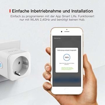 TECKIN WLAN Smart Steckdose 16A Wifi Steckdose Intelligente Mini Plug , funktioniert mit Android und iOS Siri und Google Home (2 PACK) - 8