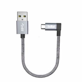 TecMad USB typ c Datenkabel USB typ Kabel 90 Grad Kompatibel für Galaxy S/Note, Nexus,Nokia N1 Tablet, OnePlus 6t/5,Huawei Mate/P,Mavic Pro Drone - Grau 0.25m/0.8ft - 1
