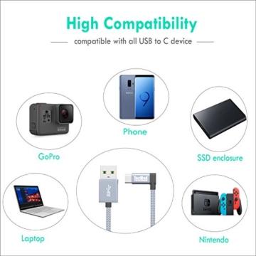 TecMad USB typ c Datenkabel USB typ Kabel 90 Grad Kompatibel für Galaxy S/Note, Nexus,Nokia N1 Tablet, OnePlus 6t/5,Huawei Mate/P,Mavic Pro Drone - Grau 0.25m/0.8ft - 6