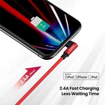 UGREEN Lightning Ladekabel Winkelstecker, MFi Zertifiziertes 90 Grad USB Lightning Kabel Nylon kompatibel mit iPhone 12, SE, 11, X, XR, XS, 8, 7, iPad 2020, 2019, AirPods Ladecase usw. (1M,Rot) - 3