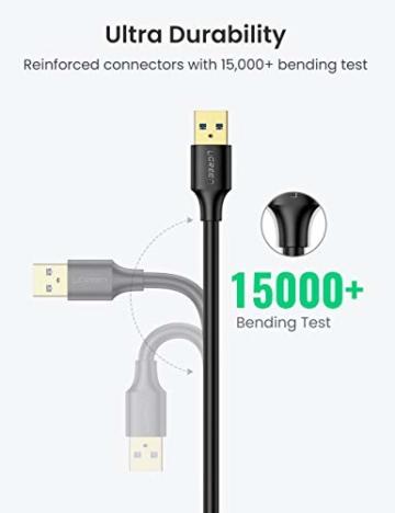 UGREEN USB 3.0 Verlängerung Kabel Verlängerungskabel USB 3.0 A Stecker auf A Buchse für Kartenlesegerät, Tastatur, USB-Stick, Externe Festplatte, USB Hub, Drucker, Scanner, Kamera usw. (1m) - 5