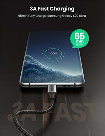 UGREEN USB C auf USB C Kabel 60W Winkelstecker 90 Grad Power Delivery USB-C Kabel 3A/20V kompatibel mit Galaxy Note20 Ultra, S20, A71, iPad Air 2020, iPad Pro 2020, Mi 10T, Redmi K30S usw. (2M) - 2