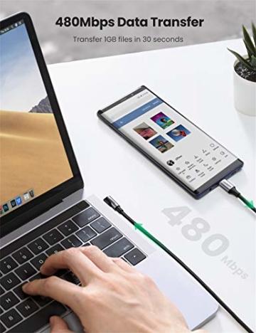 UGREEN USB C auf USB C Kabel 60W Winkelstecker 90 Grad Power Delivery USB-C Kabel 3A/20V kompatibel mit Galaxy Note20 Ultra, S20, A71, iPad Air 2020, iPad Pro 2020, Mi 10T, Redmi K30S usw. (2M) - 3