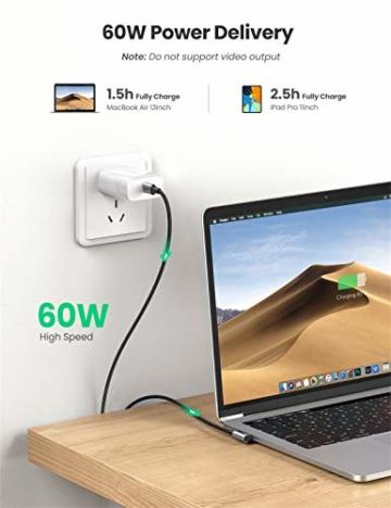 UGREEN USB C auf USB C Kabel 60W Winkelstecker 90 Grad Power Delivery USB-C Kabel 3A/20V kompatibel mit Galaxy Note20 Ultra, S20, A71, iPad Air 2020, iPad Pro 2020, Mi 10T, Redmi K30S usw. (2M) - 5