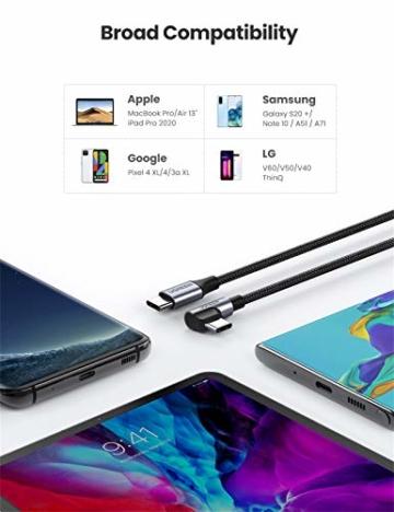UGREEN USB C auf USB C Kabel 60W Winkelstecker 90 Grad Power Delivery USB-C Kabel 3A/20V kompatibel mit Galaxy Note20 Ultra, S20, A71, iPad Air 2020, iPad Pro 2020, Mi 10T, Redmi K30S usw. (2M) - 6