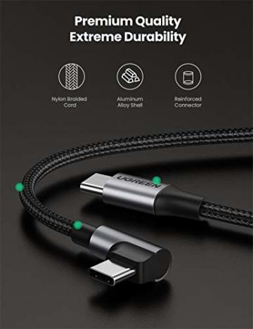 UGREEN USB C auf USB C Kabel 60W Winkelstecker 90 Grad Power Delivery USB-C Kabel 3A/20V kompatibel mit Galaxy Note20 Ultra, S20, A71, iPad Air 2020, iPad Pro 2020, Mi 10T, Redmi K30S usw. (2M) - 7
