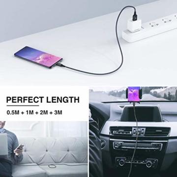 USB Typ C Kabel, RAVIAD [4Pack 0.5M 1M 2M 3M] Nylon Typ C Ladekabel und Datenkabel USB C Schnellladekabel für Samsung Galaxy S10/S9/S8+, Huawei P30/P20, Google Pixel, Sony Xperia XZ, OnePlus 6T - 2