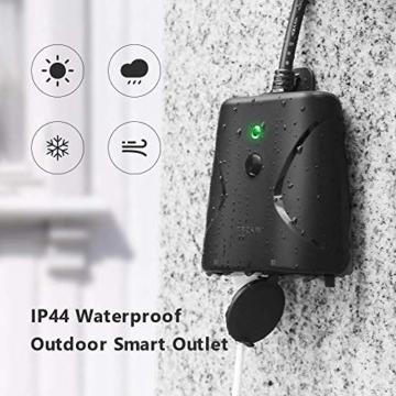 WLAN Steckdose Outdoor TECKIN 16A 4000W Wasserdicht Außensteckdose mit 2 Ausgänge mit App Fernsteuerung Smart Home Intelligente Wi-Fi Outlet Kompatibel mit Amazon Alexa, Google Home - 3