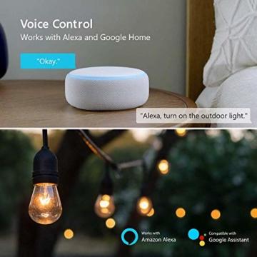 WLAN Steckdose Outdoor TECKIN 16A 4000W Wasserdicht Außensteckdose mit 2 Ausgänge mit App Fernsteuerung Smart Home Intelligente Wi-Fi Outlet Kompatibel mit Amazon Alexa, Google Home - 4