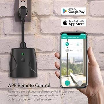 WLAN Steckdose Outdoor TECKIN 16A 4000W Wasserdicht Außensteckdose mit 2 Ausgänge mit App Fernsteuerung Smart Home Intelligente Wi-Fi Outlet Kompatibel mit Amazon Alexa, Google Home - 6