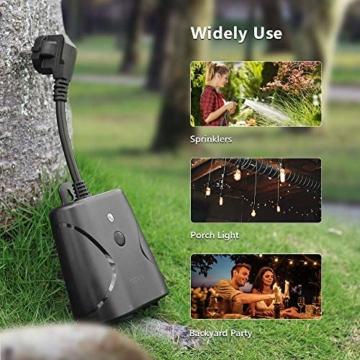 WLAN Steckdose Outdoor TECKIN 16A 4000W Wasserdicht Außensteckdose mit 2 Ausgänge mit App Fernsteuerung Smart Home Intelligente Wi-Fi Outlet Kompatibel mit Amazon Alexa, Google Home - 7
