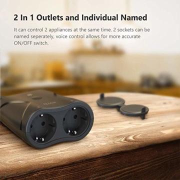 WLAN Steckdose Outdoor TECKIN 16A 4000W Wasserdicht Außensteckdose mit 2 Ausgänge mit App Fernsteuerung Smart Home Intelligente Wi-Fi Outlet Kompatibel mit Amazon Alexa, Google Home - 9