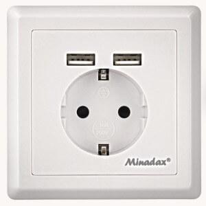 Minadax Schuko Steckdose 2xUSB standard Unterputzdose