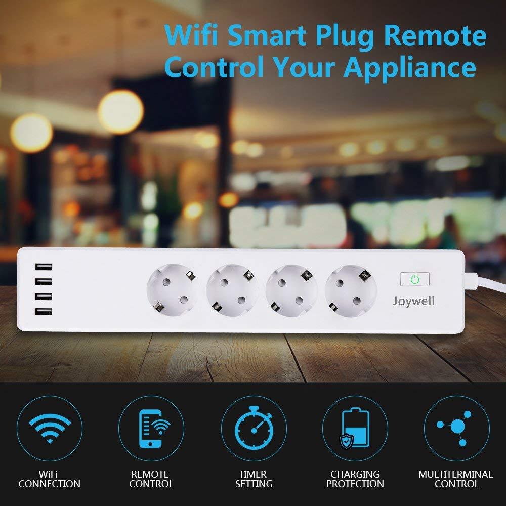 Wlan Steckdosenleiste 4-Fach mit 4 USB Lade Port, Wifi Smart Steckdose, mit App-Steuerung IOS und Android